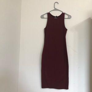 Burgundy Cotton On Bodycon Midi Dress